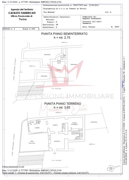 Planimetria catastale p. terra e p. seminterrato