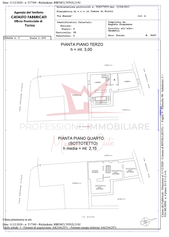Planimetria catastale p.3 e p.4